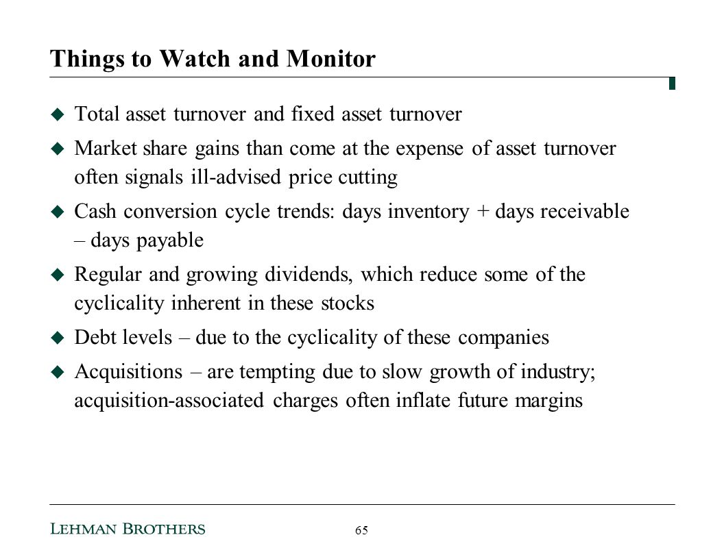 Things to Watch and Monitor