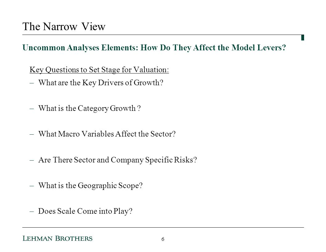 3/25/2017 10:35 AM The Narrow View. Uncommon Analyses Elements: How Do They Affect the Model Levers