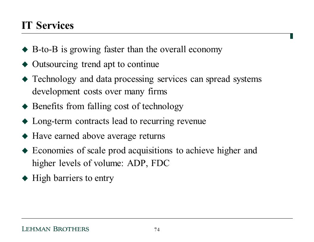 IT Services B-to-B is growing faster than the overall economy