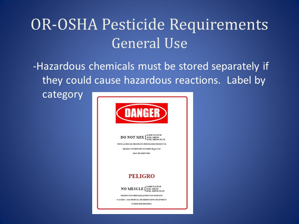 OR-OSHA Pesticide Requirements General Use