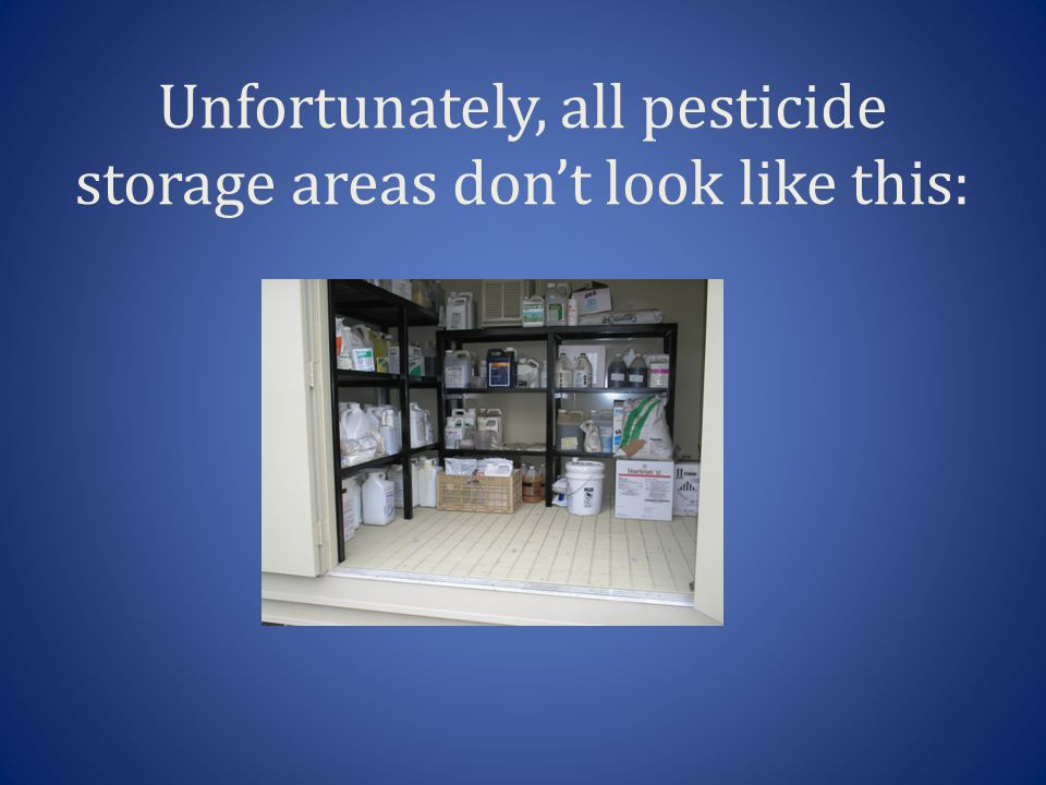 Unfortunately, all pesticide storage areas don't look like this: