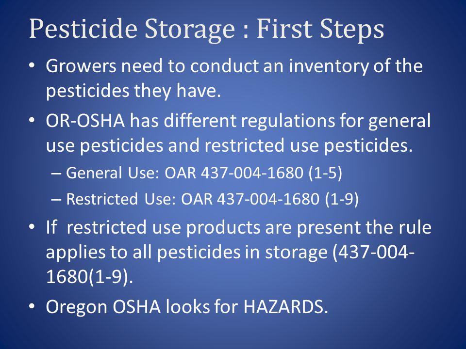 Pesticide Storage : First Steps