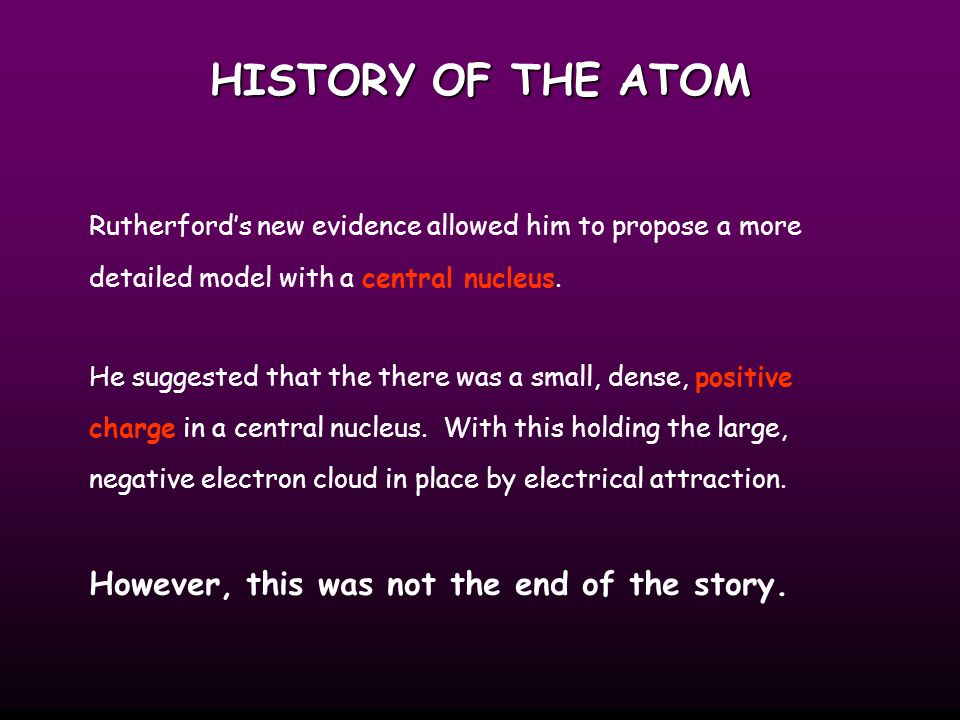 HISTORY OF THE ATOM However, this was not the end of the story.