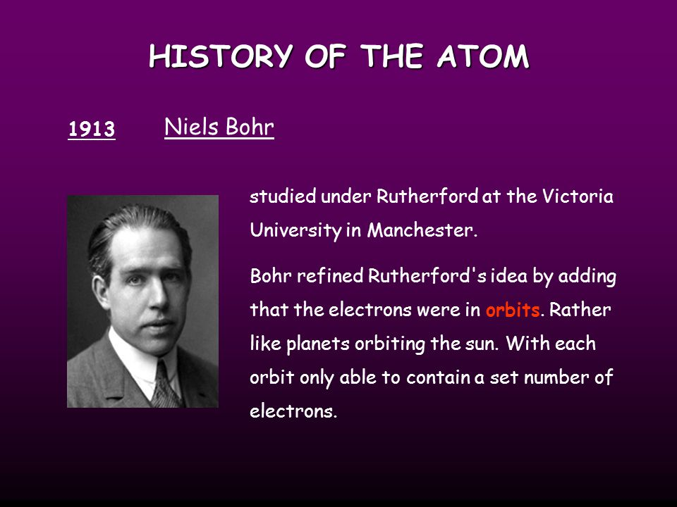 HISTORY OF THE ATOM Niels Bohr 1913