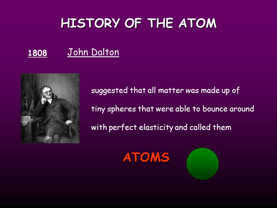 HISTORY OF THE ATOM ATOMS John Dalton 1808