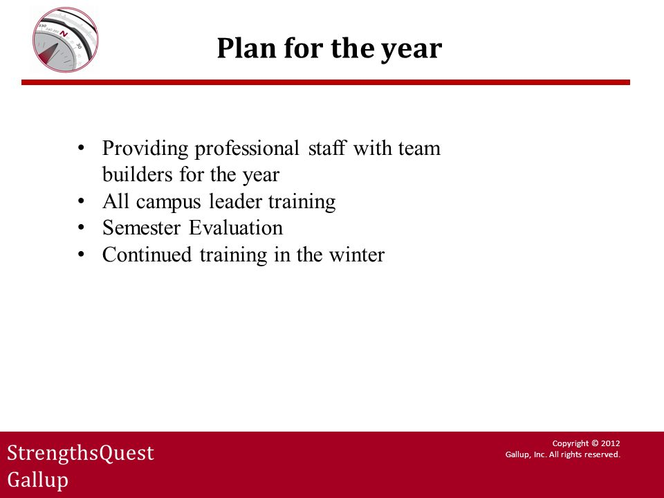 Plan for the year Providing professional staff with team builders for the year. All campus leader training.