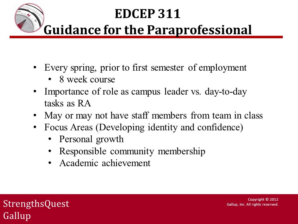 EDCEP 311 Guidance for the Paraprofessional