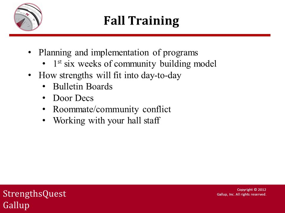 Fall Training Planning and implementation of programs