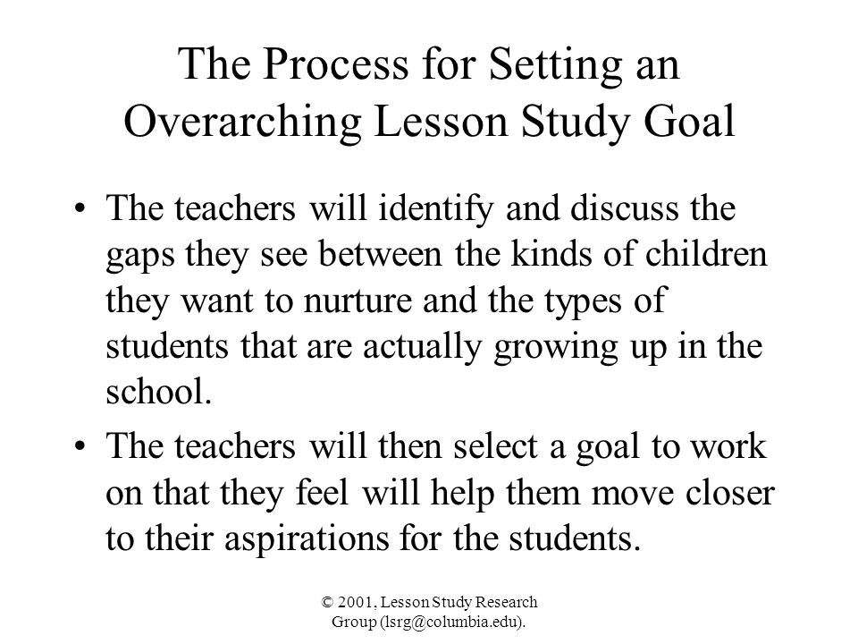 The Process for Setting an Overarching Lesson Study Goal