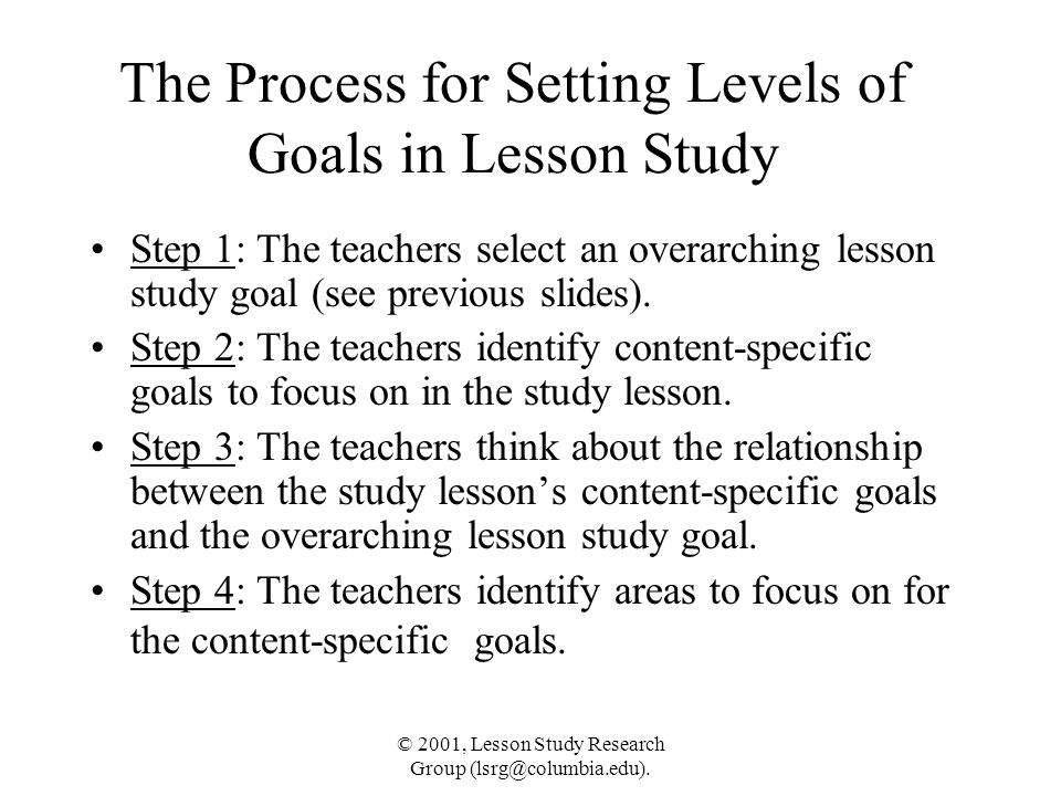 The Process for Setting Levels of Goals in Lesson Study