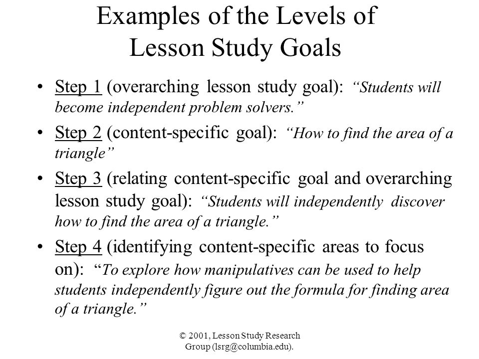 Examples of the Levels of Lesson Study Goals