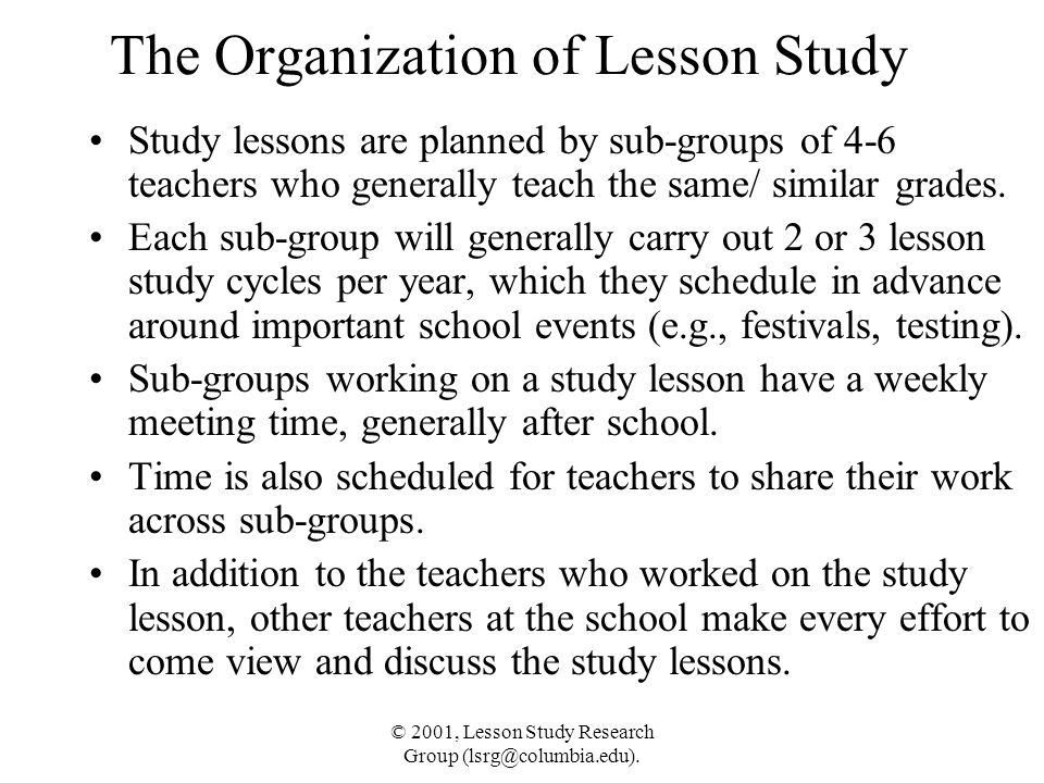 The Organization of Lesson Study