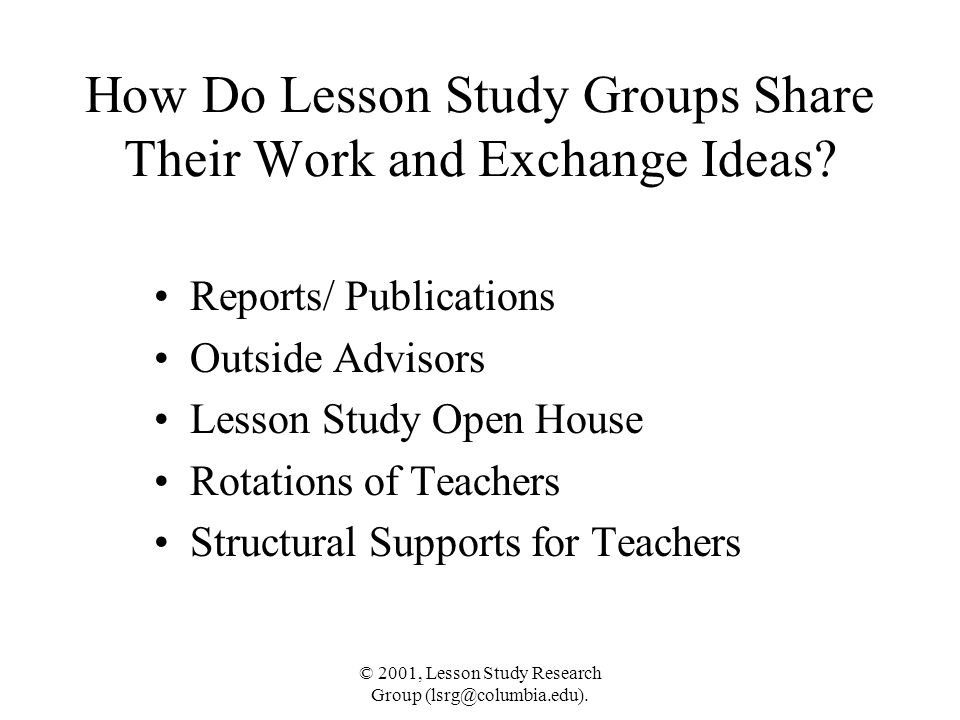 How Do Lesson Study Groups Share Their Work and Exchange Ideas