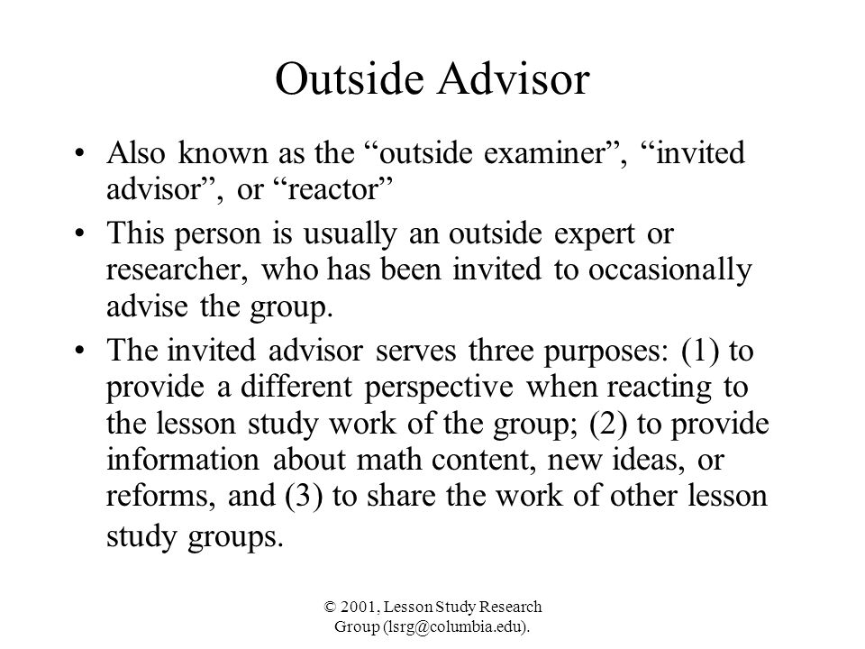 © 2001, Lesson Study Research Group (lsrg@columbia.edu).