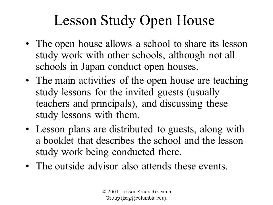 Lesson Study Open House