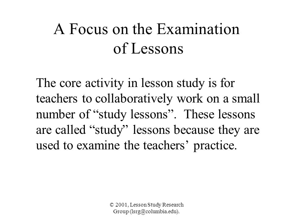 A Focus on the Examination of Lessons