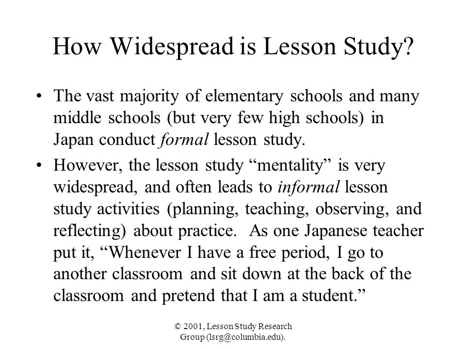 How Widespread is Lesson Study