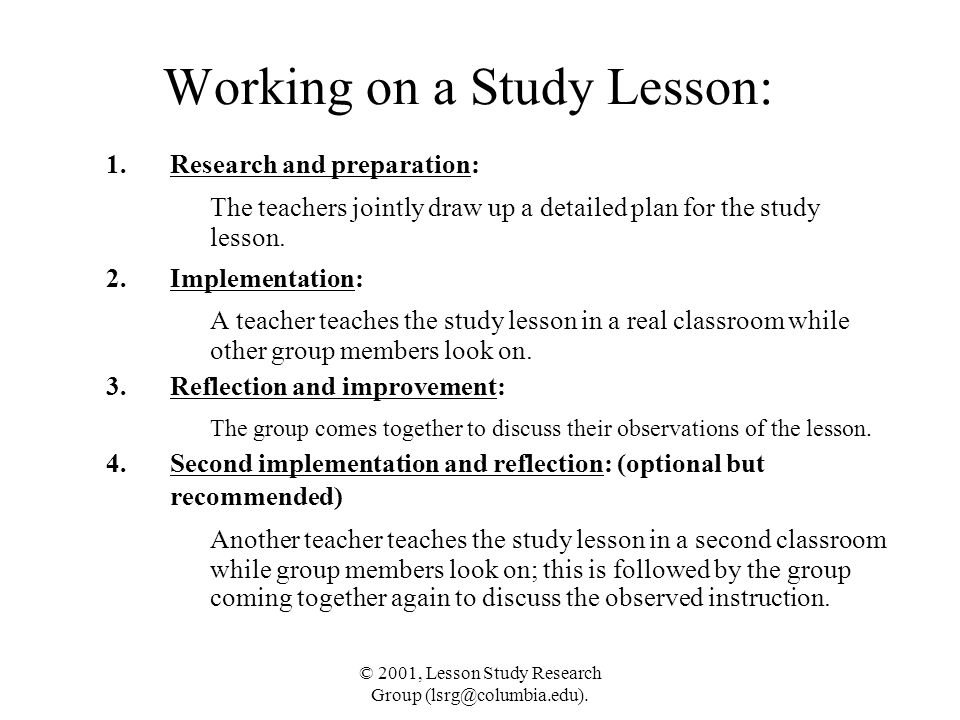 Working on a Study Lesson: