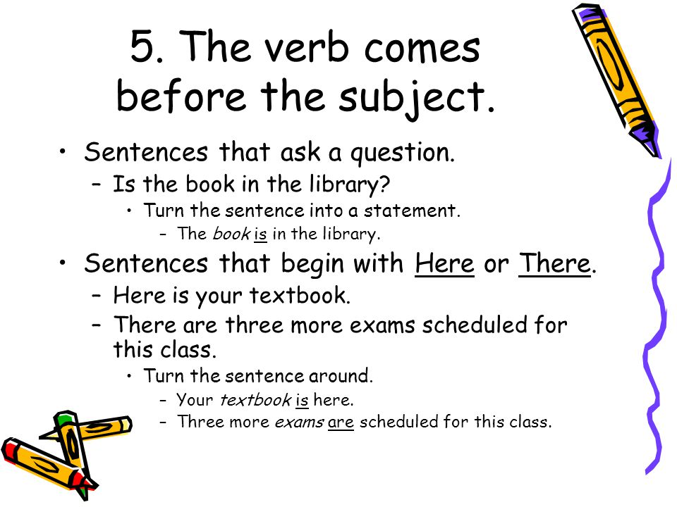 5. The verb comes before the subject.