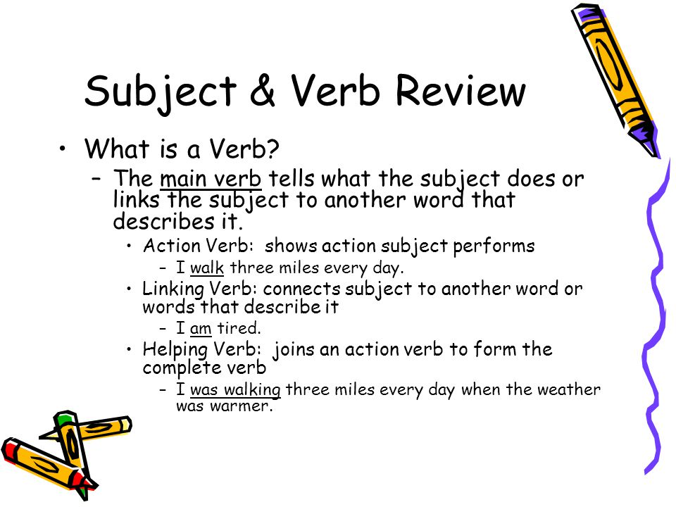 Subject & Verb Review What is a Verb