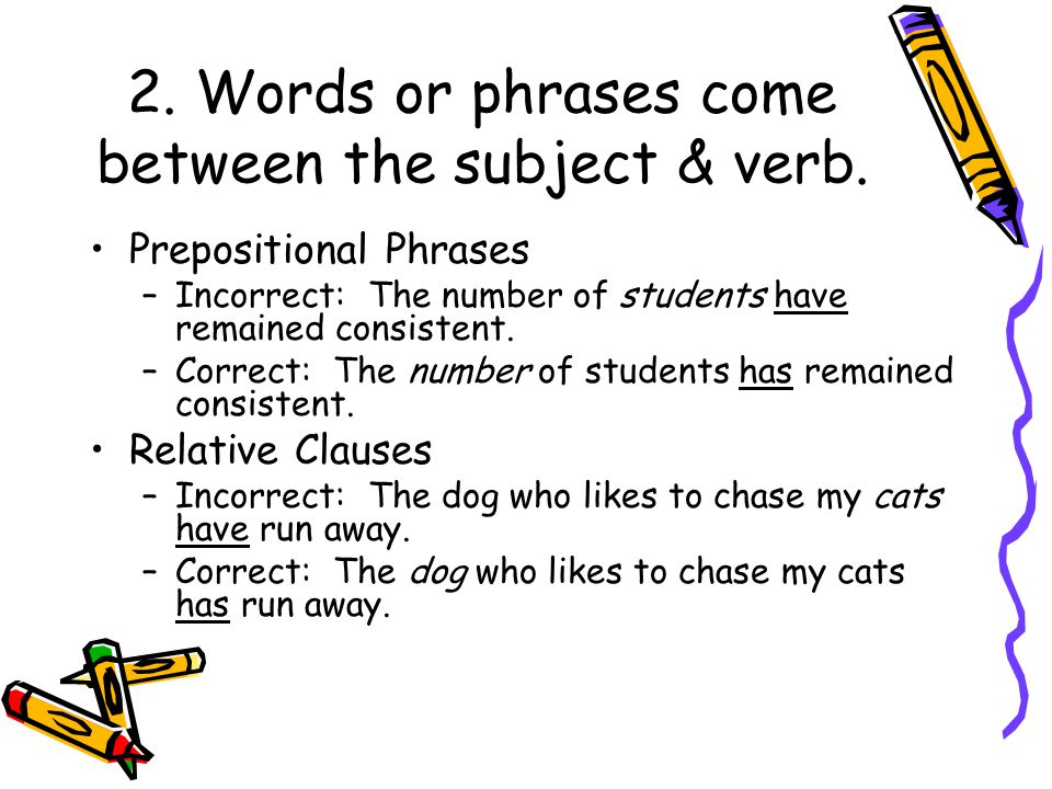 2. Words or phrases come between the subject & verb.