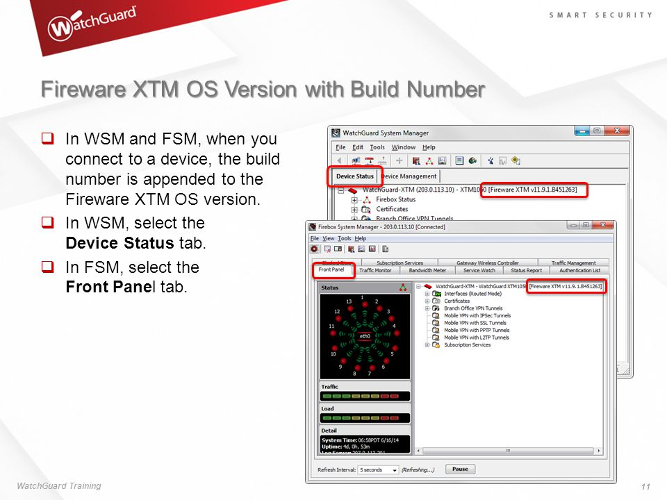 Fireware XTM OS Version with Build Number