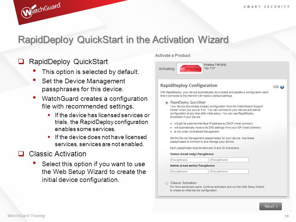 RapidDeploy QuickStart in the Activation Wizard