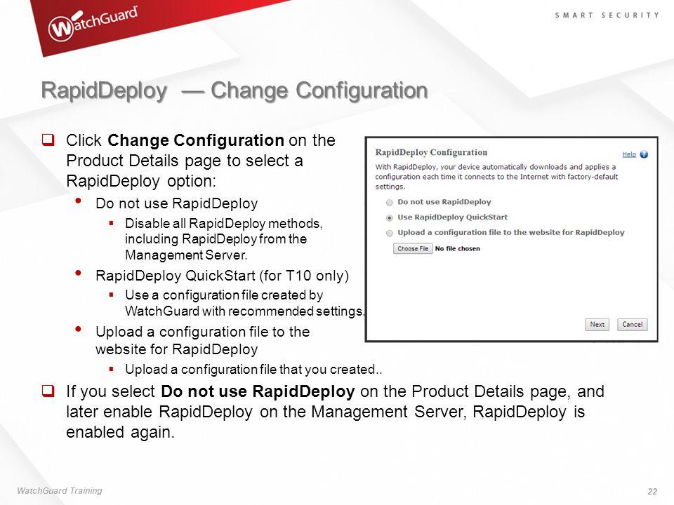 RapidDeploy — Change Configuration
