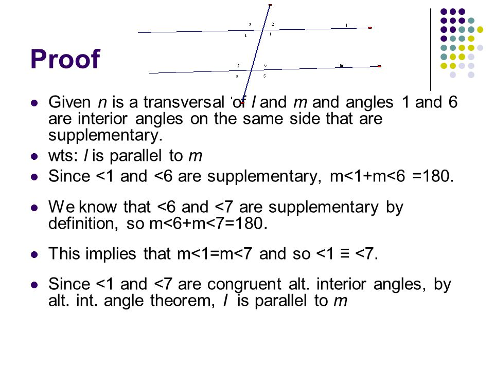 Proof Given n is a transversal of l and m and angles 1 and 6 are interior angles on the same side that are supplementary.