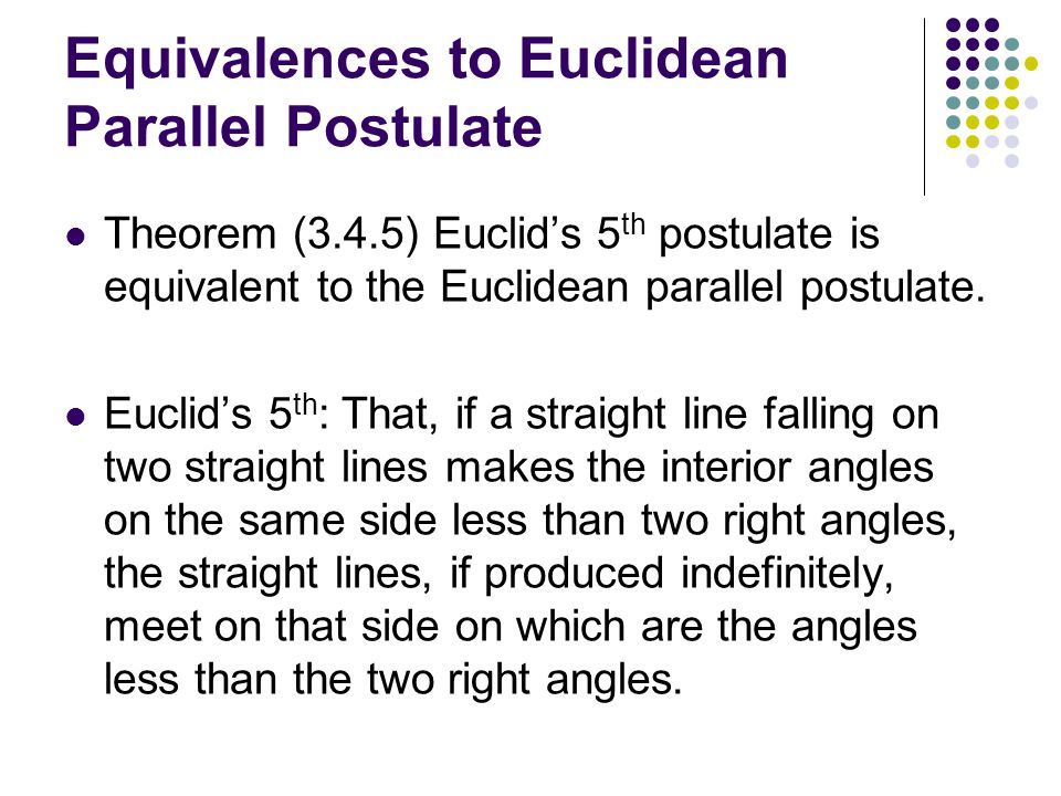 Equivalences to Euclidean Parallel Postulate