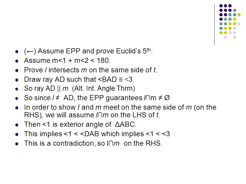 (←) Assume EPP and prove Euclid's 5th.
