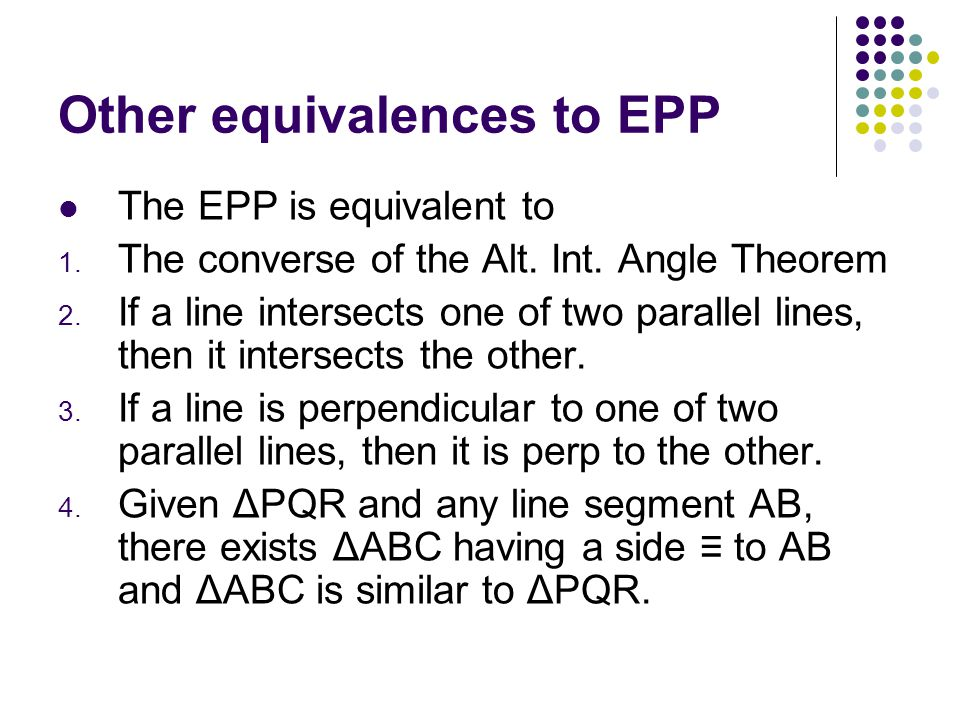 Other equivalences to EPP