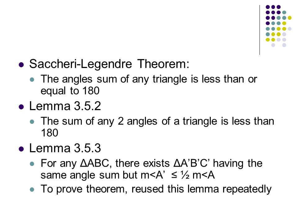 Saccheri-Legendre Theorem: