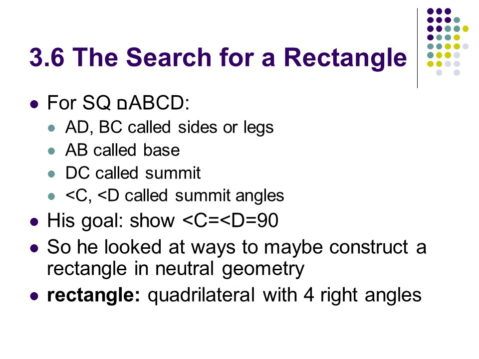 3.6 The Search for a Rectangle