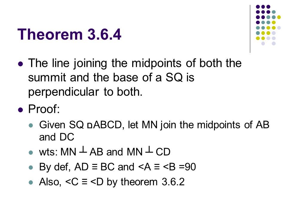 Theorem 3.6.4 The line joining the midpoints of both the summit and the base of a SQ is perpendicular to both.