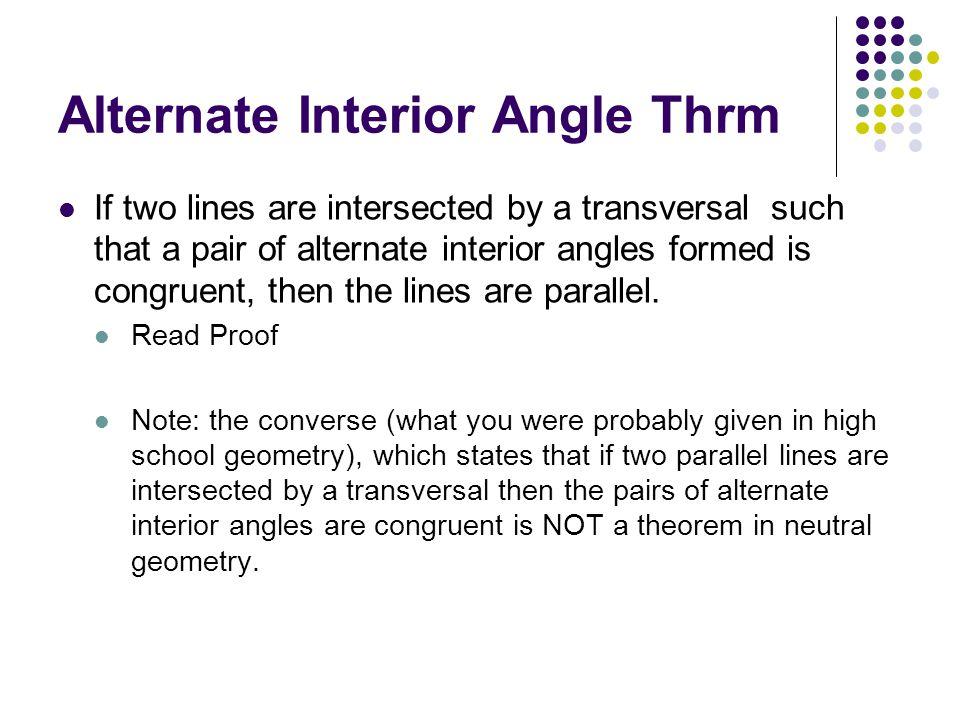 Alternate Interior Angle Thrm