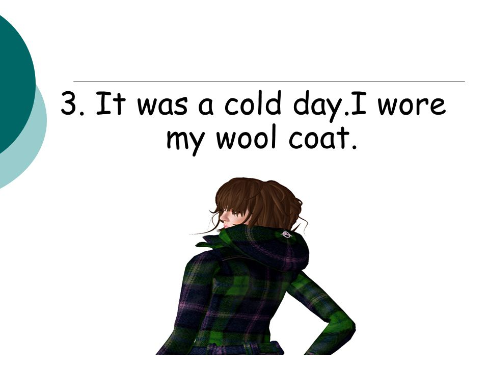 3. It was a cold day.I wore my wool coat.