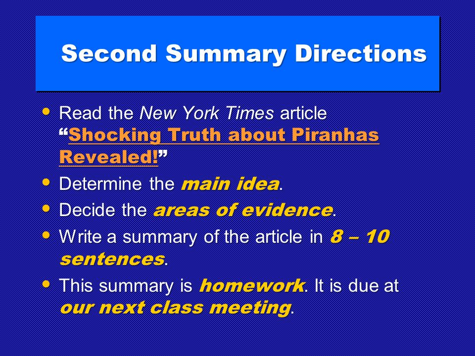 Second Summary Directions