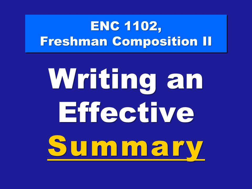 ENC 1102, Freshman Composition II