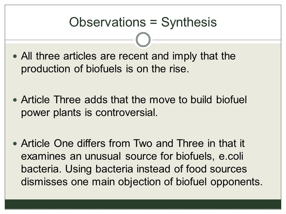 Observations = Synthesis