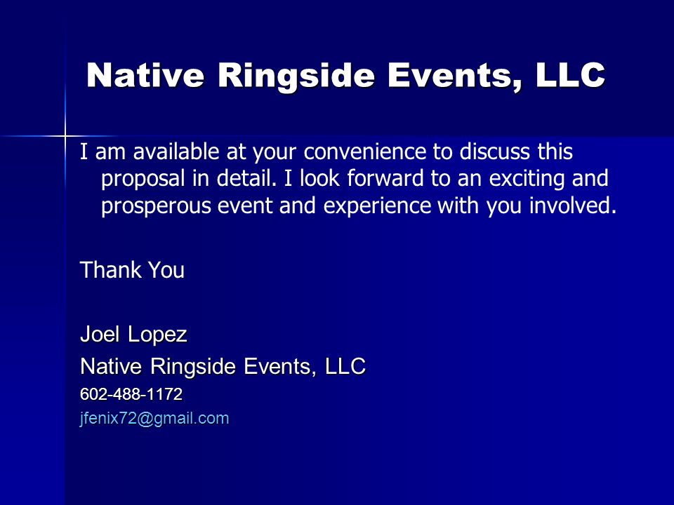 Native Ringside Events, LLC