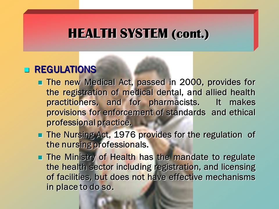HEALTH SYSTEM (cont.) REGULATIONS