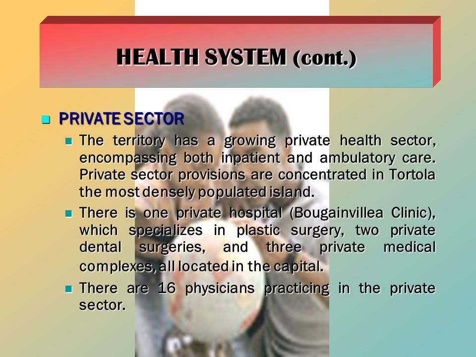 HEALTH SYSTEM (cont.) PRIVATE SECTOR