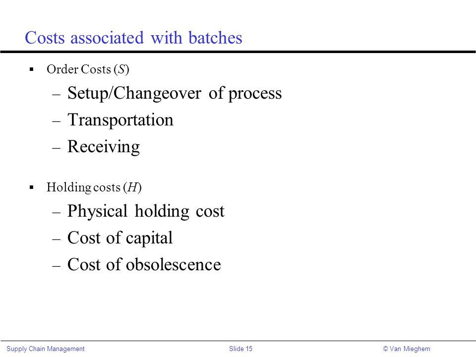 Costs associated with batches