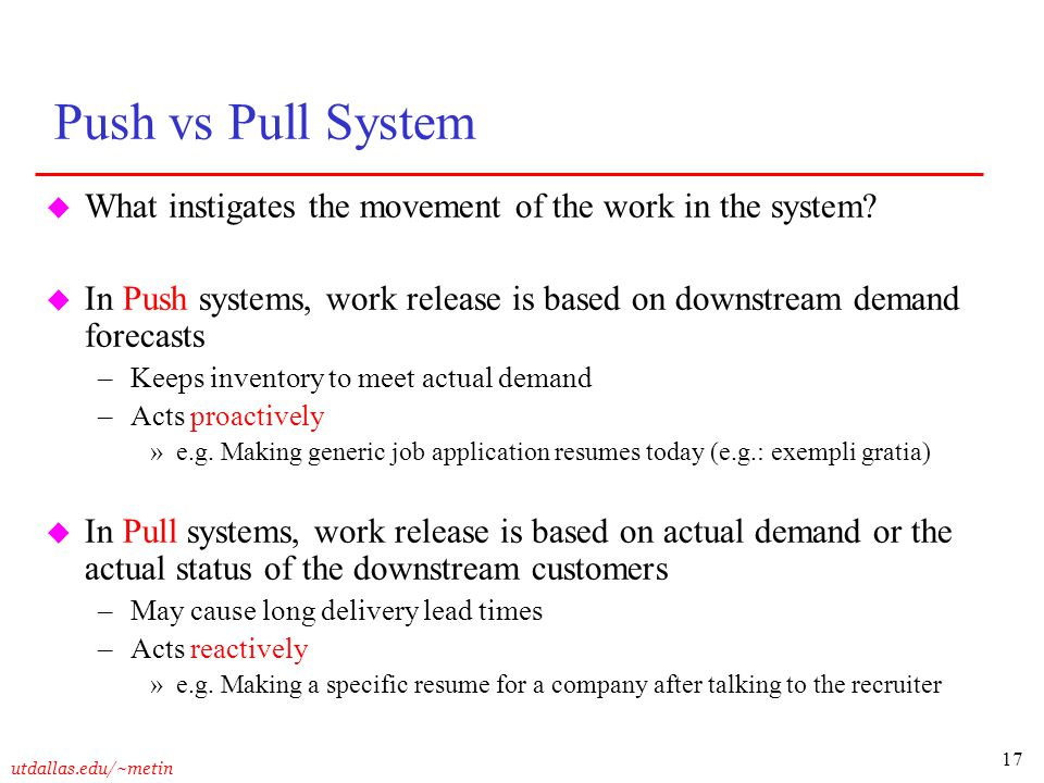 Push vs Pull System What instigates the movement of the work in the system In Push systems, work release is based on downstream demand forecasts.