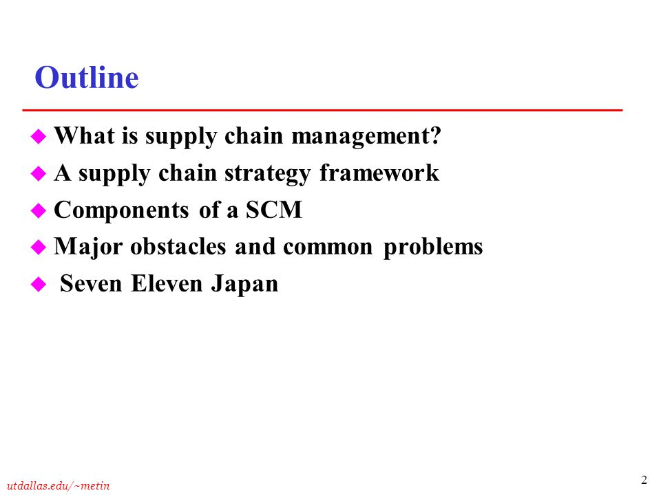 Outline What is supply chain management