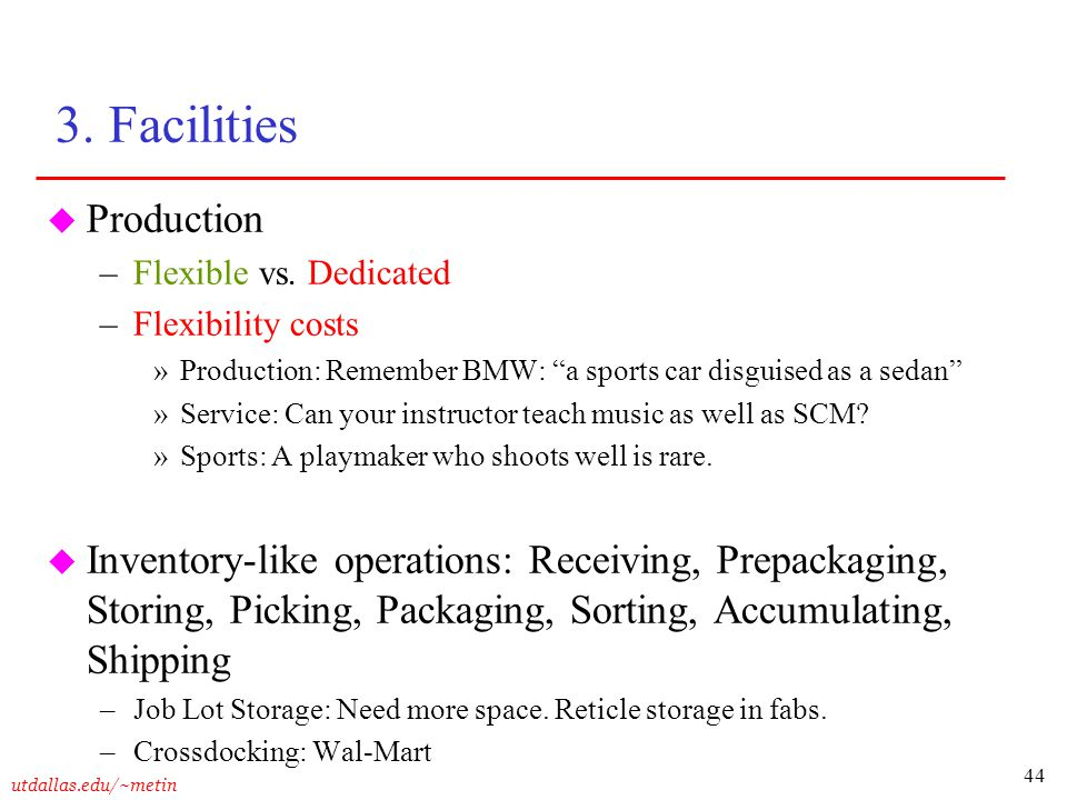 3. Facilities Production