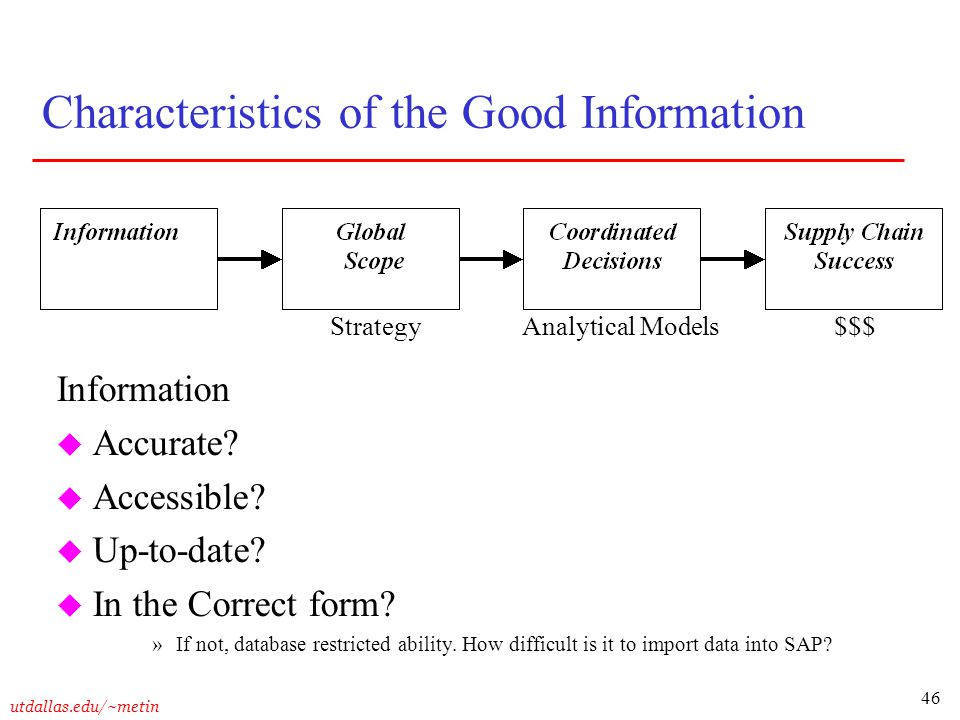 Characteristics of the Good Information