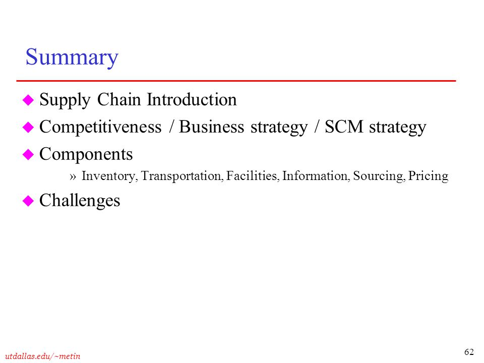 Summary Supply Chain Introduction