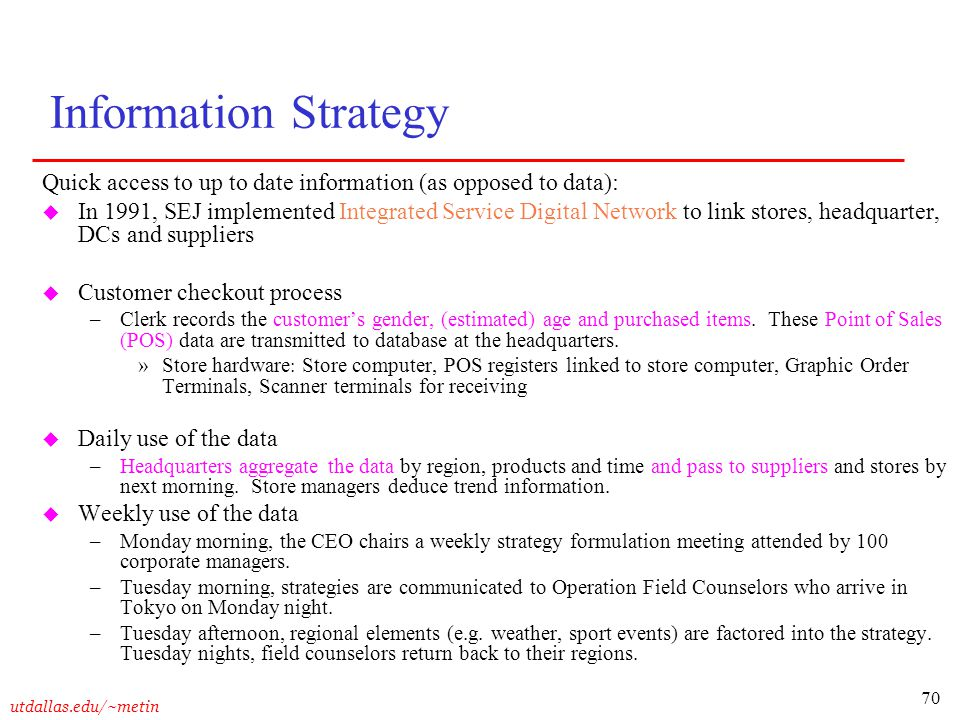 Information Strategy Quick access to up to date information (as opposed to data):